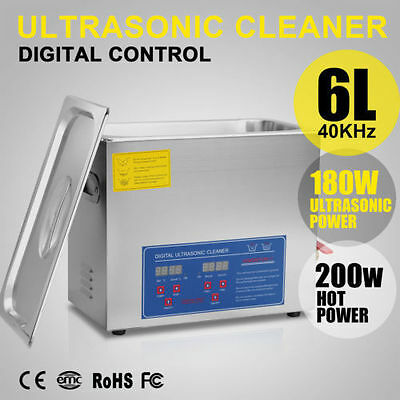 Stainless Steel 6L Liter Industry Heated 6L Ultrasonic Cleaner Heater w/Timer CA