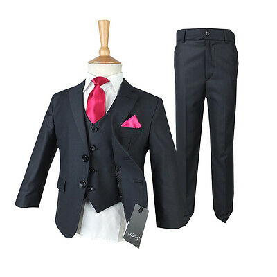 Dark grey Kids Suit, Boys Grey Formal Wedding Suits, Kids 1st Communion Outfit