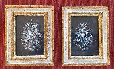"Vintage Pair Of Italian Florentine Toleware Floral Wood Wall Plaques 5"" X4"""