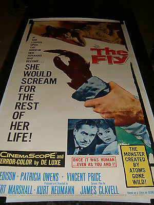 """THE FLY Original 1958 Movie Poster, 41.5"""" x 79"""", C7.5 Very Fine Minus on Linen"""