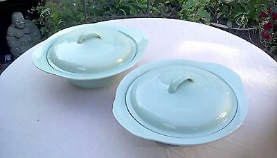 Woods ware beryl lidded servng dishes x2