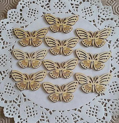 10 x Wooden Butterfly Craft Shapes/Embellishments