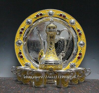 Collectible china  Tibet Silver Carved Flower Tea Pot Cups Plate A Set yellow