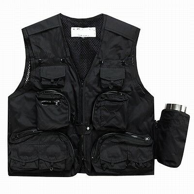 Black Outdoor Quick Drying fishing vest Pockets Photography Jacket Vest XL