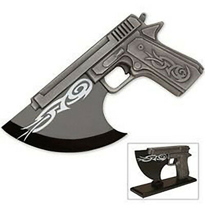 """Fantasy Pistol Axe with 9.5"""" Edge with Display Stand and Intricate Detailing"""