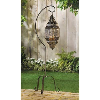 """Moroccan Candle Lantern With Stand - 41 1/4"""" High - Iron - Black"""