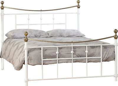 NEW Beautiful Brass 4ft6 Double In Cream Finish Metal Bed Frame