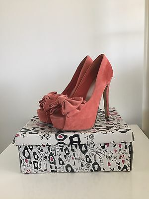 Miss Kg. Kurt Geiger Pink Suede Peep Toe Shoes With Box. Size 5