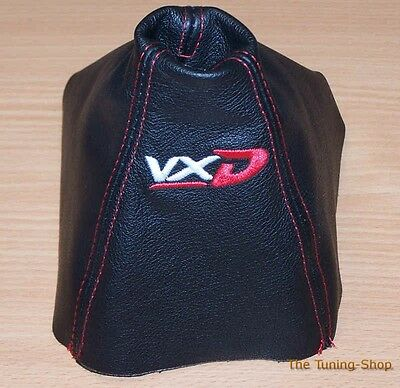 """For Opel Vauxhall Astra H MK5 04-09 Gear Gaiter Leather """"VXD"""" Red Embroidery"""