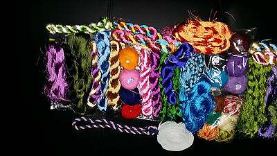 65+ embroidery threads: cotton balls & silky braids + craft laces with key ring