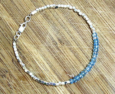 Natural Swiss Blue Topaz Bead Bracelet in Solid Sterling Silver 4th Anniversary