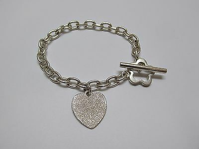 "Lovely 925 Sterling Silver 7 1/8"" Toggle Bracelet with Brushed Heart Charm"