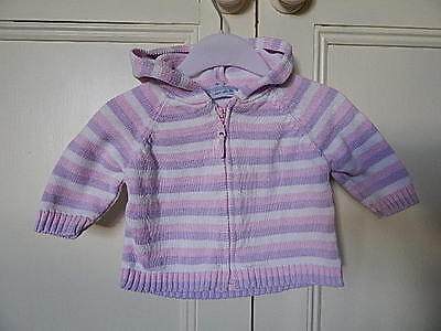 Cherokee 100% Cotton Baby Girls Hooded Pink White Lilac Cardigan 0-3 Months