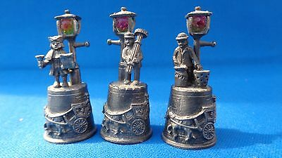Pewter Thimbles ' Cries Of London ' - Chimney Sweep - Hot Chestnuts - Town Crier