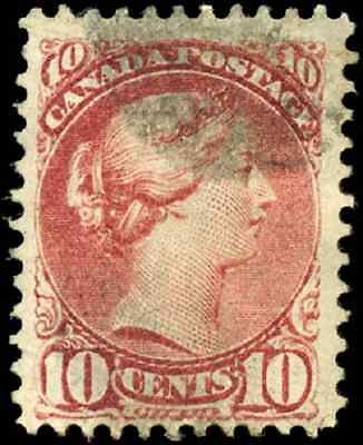 Canada #45 used F 1872 Queen Victoria 10c red brown Small Queen CV$40.00