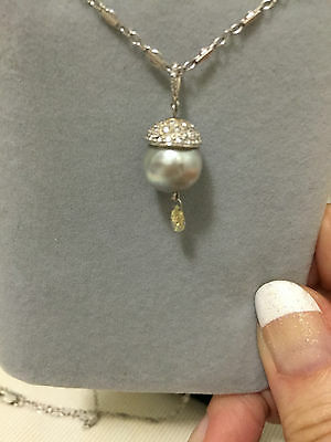 Beautiful and unique grey pearl yellow diamond briolette pendant 18K custom