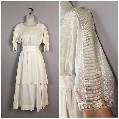 Antique 1910s Edwardian White Cotton Lace Embroidered Semi Sheer Day Dress XS