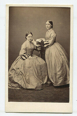 Beautiful Sisters In Lovely Matching Dress. Who Wore It Better? Cdv, Sharp.