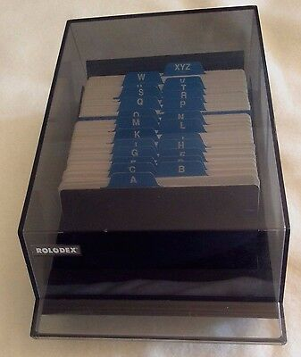 """Rolodex Covered Tray Card File with 3"""" x 5"""" Cards Black Smoke VIP35C"""