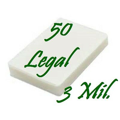 50 pack LEGAL SIZE Laminating Laminator Pouches Sheets  9 x 14-1/2  3 Mil