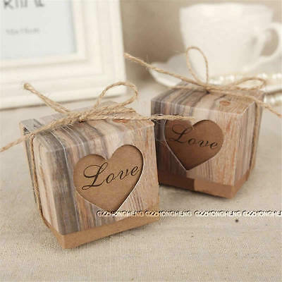 50Pcs Heart Love Rustic Sweet Laser Cut Candy Gift Boxes Wedding Party Favour 01