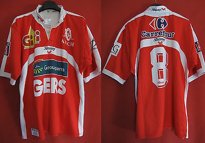 Maillot Rugby Fc Auch Gers porté Match n°8 Shemsy Vintage jersey - XL