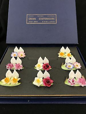 "Beautiful 8pc Set of 2"" Vintage Staffordshire Porcelain Flower PlaceCard Holders"