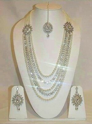 New Indian Bollywood Costume Jewellery Necklace Set With Earrings Pearl Gold Ton