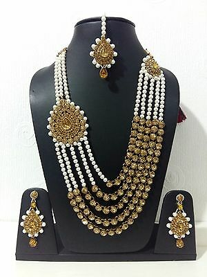 New Indian Costume Jewellery Necklace Set Gold Tone Bronze Stone White Pearl