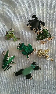 frog brooches, painted/enameled