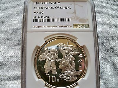 "China 1998 10Y "" Celebration of Spring"" silver coin NGC MS 69"