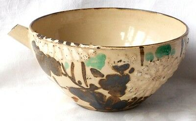 C19Th Japanese Awata Feeding Bowl Decorated With A Relief Moulded Chrysanthemum