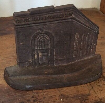 central bank albany cast iron advertising BUILDING BOOKEND