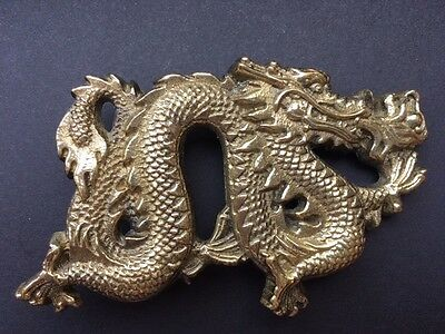 Vintage 1981 Chinese Dragon Belt Buckle Solid Brass Baron 6254 Serpent Rare
