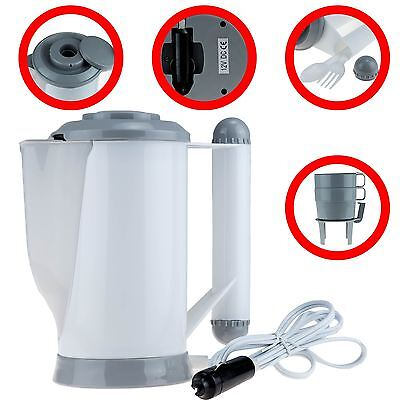12V In Car Travel Kettle Cigarette Lighter Socket Rapid Boil Camping Tea Coffee