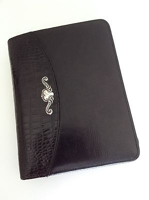 Brighton for Business Black Leather Scroll Day Planner Organizer 3-Ring Binder