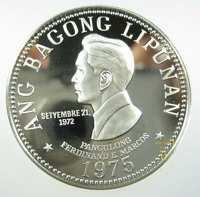 Philippines 5 Piso 1975 Nickel Gem Proof Ferdinand Marcos Crown World Coin ✪