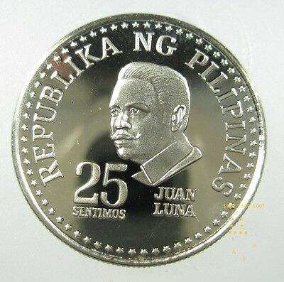 Philippines 25 Sentimos 1975 Nickel Gem Proof Juan Luna Hero World Coin ✪