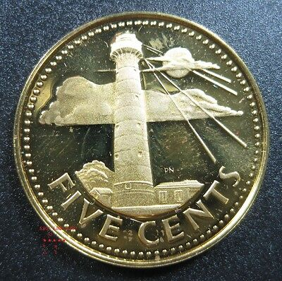 Barbados 5 Cent 1973 - 1976 Brass Gem Proof Sea Lighthouse World Coin ✪