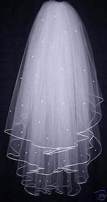 New White/Ivory 3T 31in Wedding Bridal Veil Cathedral With Comb + Beads