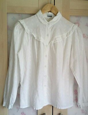 Vintage Broderie Anglaise Blouse - 60s/Victoriana - Size 12/14