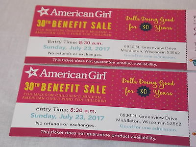 American Girl MCM Benefit Sale Madison Sunday 7/23 8:30 AM (2 TICKETS)