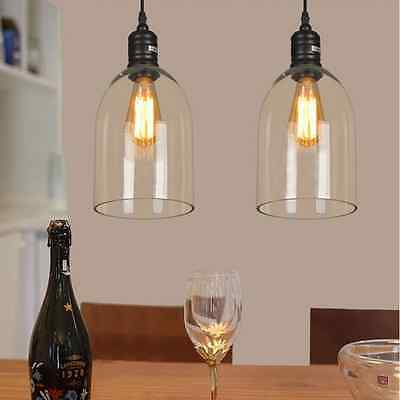 Retro Clear Glass Shade Ceiling Vintage Chandelier Fitting Pendant Lamp Light