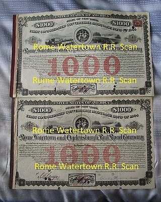 Rome Watertown And Ogdensburgh Railroad Company (Ny) Pair Of Mortgage Bonds