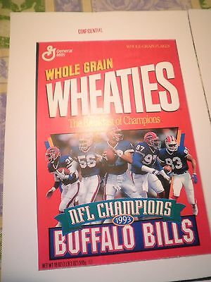 + Free Wheaties  Buffalo  + Bills  Jim Kelly ` Confidential` General Mills Print