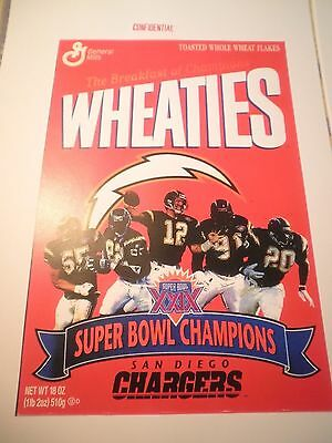 + Free Cards   Wheaties  San Diego Chargers ` Confidential ` General Mills Print