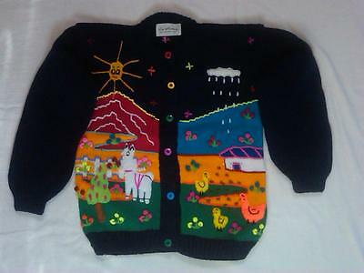 Children's Peruvian Sweater with Embroidered Farm Life Appliques size 6.