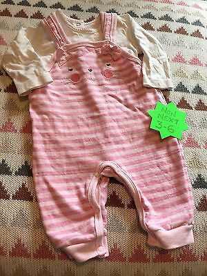 Baby Girls Dungarees With Bodysuit 3-6m