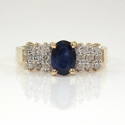 10K Yellow Gold Natural Blue Sapphire Diamond Cluster Band Ring Size 7.25 ZD