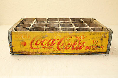 Coca Cola Bottle Crate Vintage Wooden Caddy Carrier Advertising 24 Slot Yellow 2